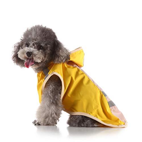 Smniao Hund Regenjacke mit Kapuze Reflektierende Streifen wasserdichte Klettdesign Regenmantel für Kleine Mittel Große Hunde, XS Bis 4XL (XL, Gelb)