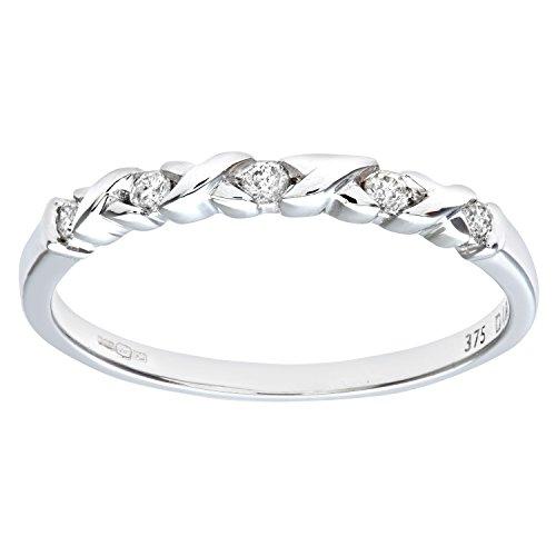 Naava Anillo para Mujer de Oro Blanco 9K con 5 Diamantes talla 16.5