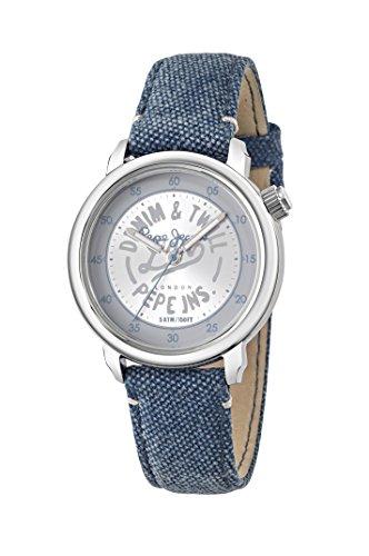 Pepe Jeans para mujer reloj infantil de cuarzo con Sally plateado esfera analógica y azul correa de piel R2351117502
