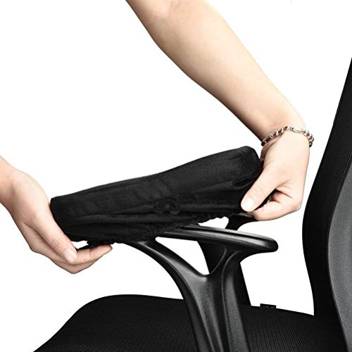 LANSHENG Ergonomic Memory Foam Office Chair Armrest Pads,Comfy Gaming Chair Arm Rest Covers and Elbow Pillow for Elbows and Forearms Pressure Relief(Set of 2) -