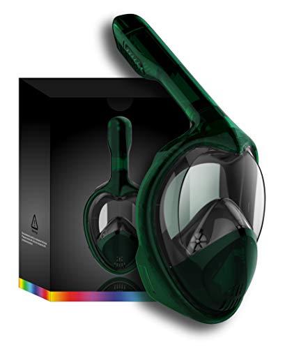 Tooklanet Schnorchelmaske vollemaske Gesicht Easy Breathe für Erwachsene Kinder, HD-Spiegel Panorama 180 °Ansicht Tauchermaske, Anti-Nebel-Anti-Leck GoPro kompatibel, abnehmbare Kamera-Halterung