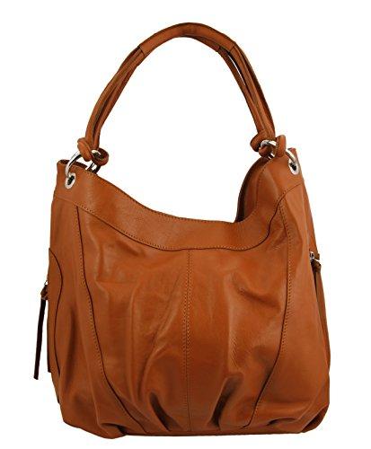 Fotografico Elena III XL Shopper/Borsa a spalla in vera pelle/colori assortiti, Orangebraun (Marrone) - Elena Orangebraun