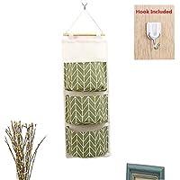 Organizador para colocar encima de la puerta, para colgar, de tela de lino, con 3bolsillos para dormitorio, cocina, cuarto de baño