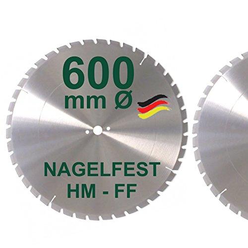 HM Sägeblatt 600 x 30 mm NAGELFEST FF Hartmetall FSP Kreissägeblatt 600mm für Bauholz Brennholz Schalholz Leimholz zum Sägen mit Wippsäge Tischkreissäge Kreissäge Kappsäge Brennholzsäge Tischsäge
