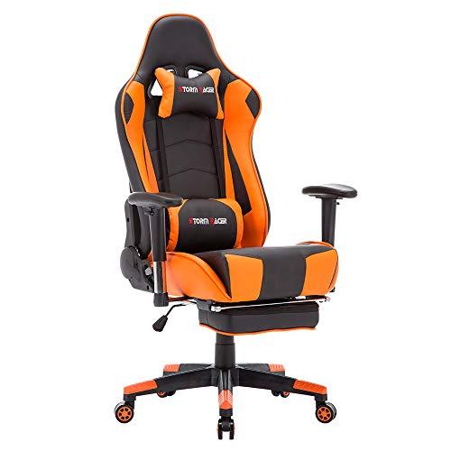 Storm Racer Gaming Stuhl PC Racing Gaming Sessel Bürostuhl Schreibtischstuhl mit Gepolsterte Fußstütze (Orange-05)