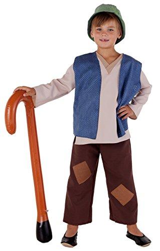 n Kostüm Krippenspiel Kinder braun-beige mit Weste in 3 Farben - Schäfer Kostüm Kinder Jungen (blau, 116) ()