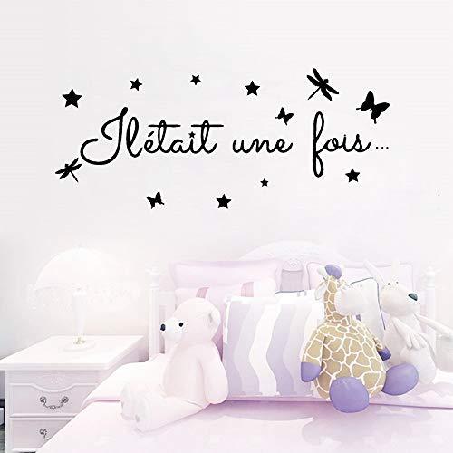 fancjj Französisch Stil Aufkleber Chambre fille Vinyl wandkunst Aufkleber Baby mädchen Zimmer DIY Princesse Dekoration 110x42 cm - Mulch Gold