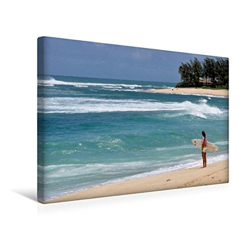 Calvendo Premium Textil-Leinwand 45 cm x 30 cm quer, Warten auf die Welle/North Shore, Oahu   Wandbild, Bild auf Keilrahmen, Fertigbild auf echter Leinwand, Leinwanddruck Natur Natur
