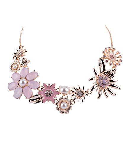 SIX Oktoberfest - Damen Halskette, Statement-Kette mit floralem Muster und großen Blumen, Strasssteinen und Perle, Silber, rosa (779-658)