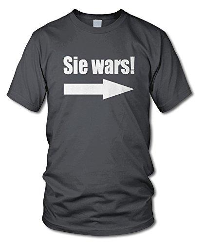 shirtloge - SIE WARS! - KULT - Fun T-Shirt - in verschiedenen Farben - Größe S - XXL Dunkelgrau