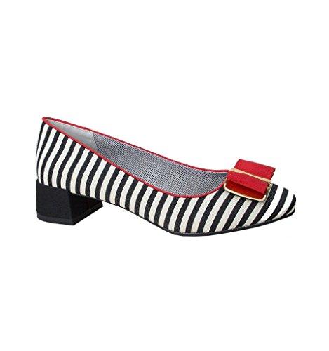Ruby Shoo Damen Schuhe June Vintage Striped Streifen Pumps (37, Schwarz-Weiß Gestreift/Rot) - Die Weißen Streifen Gestreiften Rock