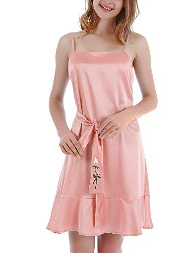 Yulee Donna Raso Camicia da notte di ricamo Chemise Ruffle Hem biancheria da notte Pink