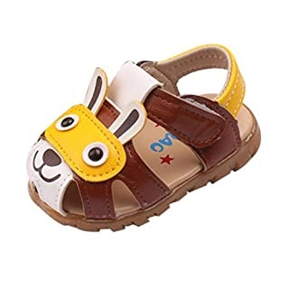 IGEMY Toddler Kids Baby Boys Summer Shoes With Flashing Lights Sandals Cartoon Shoes (UK:3.5, Coffee)