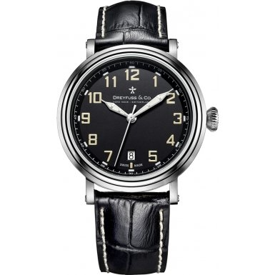 Dreyfuss and Co DGS00152-19 Mens 1924 Black Leather Strap Watch