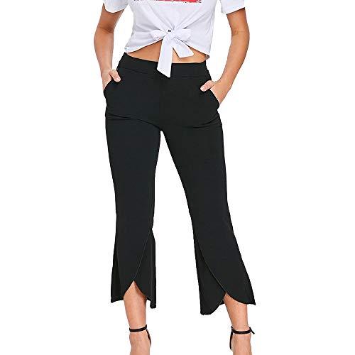 Allence Classics Damen Hose Ladies Modal Culotte Pants mit weitem Bein Loose Hose 7/8 Läng Hohe Schwarz
