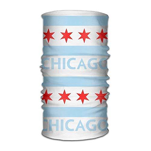 Chicago City Flag Multifunctional Magic Headwear 12-in-1 Men&Women Tube Scarf Facemask Headbands Neck Gaiter Bandana Balaclava Helmet for Outdoor Running Yoga Work Out -