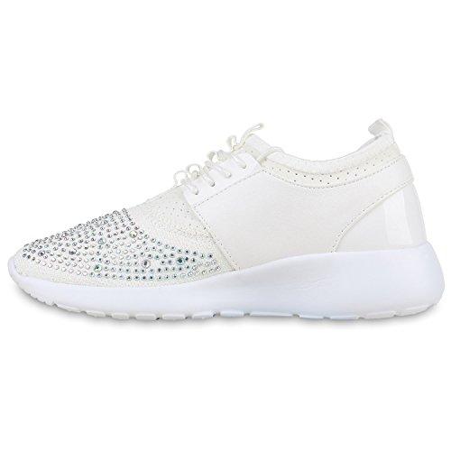 Damen Sportschuhe Muster  Laufschuhe Runners   Sneakers Schuhe Strass Metallic Weiss Strass