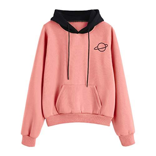 GOKOMO Damen Langarm Tasche Tasche Pullover Hoodie Top Bluse(Rosa,XX-Large)