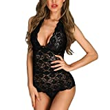 YCQUE Frauen Spitze Sexy Solide Dessous Overall Backless Nahtlose BH Open Back V-Ausschnitt Lace Up Scalloped Lace Sheer Teddy Bodysuit Strampler