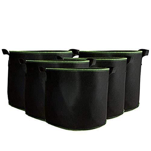 Sacs à Plantes Sac a Plante, 5 pièces Tissu Non tissé Sacs de Plantation, Noir Protection environnementale Peut Faire Pousser des légumes, des Fleurs,Black,21Gallon50*40cm