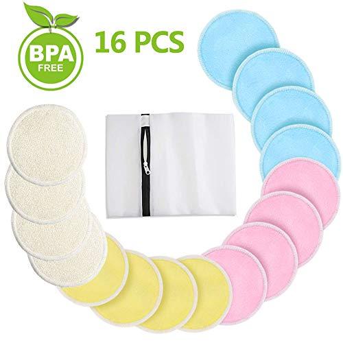 Almohadillas Desmaquillantes Reutilizables de Bambú, Almohadillas lavables de algodón Discos Desmaquillantes Make Up Limpieza Facial Pad con Bolsa de Lavandería, 16 Pieza 2 capas 4 Colores