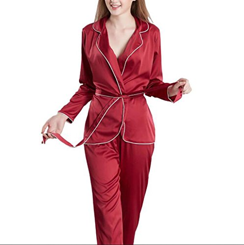 SZXC Damen Satin Pyjamas Set Langarm und Langer Button-Down Seide Nachtwäsche Loungewear für All Seasons , wine red , 175 (Girl Kostüm Hell Kimono)
