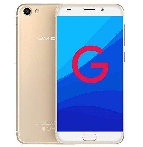 UMIDIGI G - Android 7.0 4G 5.0 Zoll GORILLA 4. GLASS Bildschirm Ultra light & schlankes Smartphone Quad Core 1.3GHz 2GB RAM 16GB Fingerabdruck - Gold
