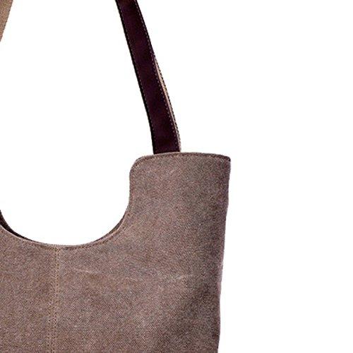 TININNA signore donne annata semplificato stile Tela Borsa Tote Borsa a tracolla Shopping Borsa Brown Brown