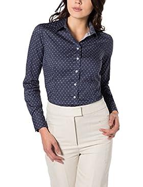 eterna Damen Bluse Slim Fit Langarm Marine Bedruckt mit Hemd-Kragen