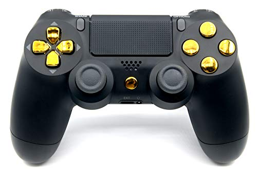 Black/Gold PlayStation 4 V2 (new version) Rapid Fire Modded Controller for COD Black Ops3, Infinity Warfare, AW, Destiny, Battlefield: Quick Scope, Drop Shot, Auto Run, Sniped Breath, Mimic, More (Cod Aw Modded Controller)