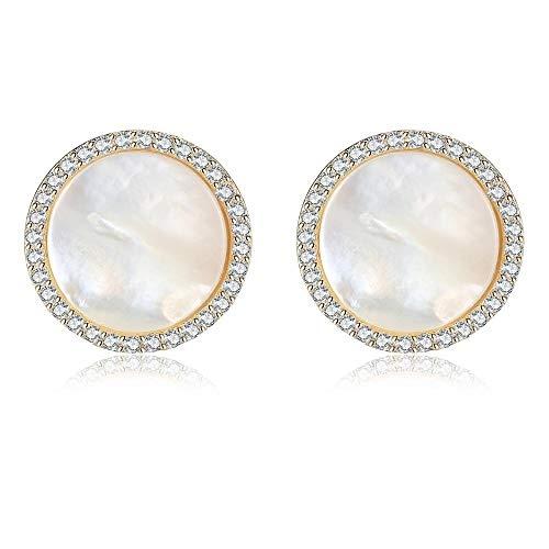 Style 925 Sterling Silber Ohrringe, Runde Ohrringe, natürliche Muschel Ohrringe, Knopf Ohrringe