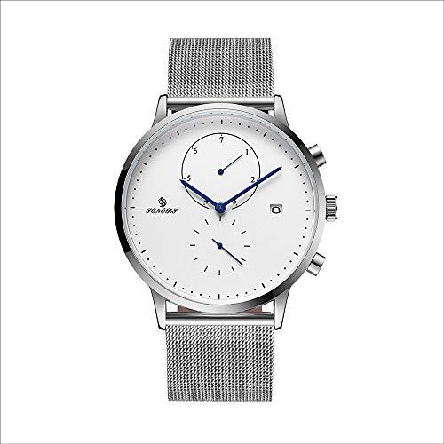 Hywot Herren Mesh Gürtel Uhr Quarzuhr Kreative Einfache Vier-Zeiger Business Watch Fashion Minimalist,Silver -