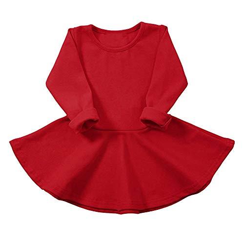 ec10f1d2f Mitlfuny Invierno Otoño Caliente Niños Bebé Niña Manga Larga Vestido  Princesa sólido Volantes Camiseta Trajes de