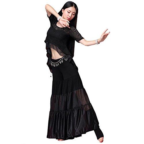 Ventre Danse Court Manches T-Shirt Un Pantalon Ensemble Femmes Creux Entraine Toi Vêtements Moderne Performance Costume 1