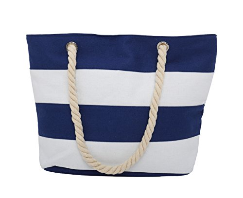PLEASANT PALCE Ladies Canvas Beach Bag Causal Shopping Bag Shopper Tote Shoulder Bag for Holiday and Travel with Cotton Rope Handle (Navy/White-45cmx32cmx14cm)