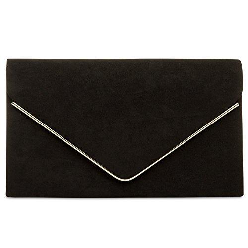 Schwarze Clutch (CASPAR TA356 Damen elegante Textil Velours Envelope Clutch Tasche / Abendtasche mit langer Kette, Farbe:schwarz;Größe:One Size)