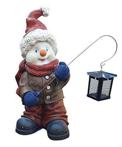 Fachhandel Plus Garten Deko Figur Schneemann 52 cm mit Metall Laterne innen und außen geeignet -