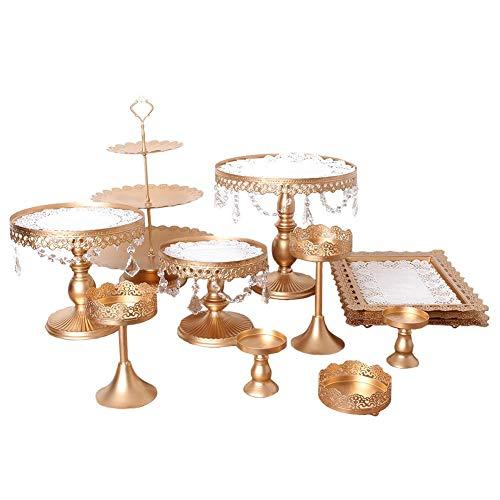 Dadahuam Cupcake Stand, 12 Teile/Satz Kuchen Cupcake Stand Display Dessert Halter Hochzeit Regal Schmiedeeisen Kristall Rack Tischdekoration Cupcake Halter