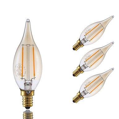 2W E12 Bombillas de Filamento LED B 2 COB 160 lm Ámbar Regulable / Decorativa V 4 piezas