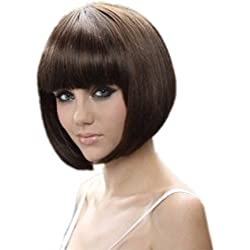 RoyalStyleÃ'® 8 30cm Short Hair Wig Natural As Real Hair Cosplay Wigs Neat Bangs Bob Wigs(Brown) by RoyalStyle