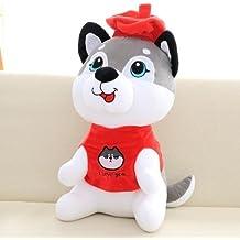 Husky Hebao doll simulación gran perro Peluche Perro Papi doll Zodiac regalo de cumpleaños perro de figurillas femeninas, use calcetines, 30 cm.