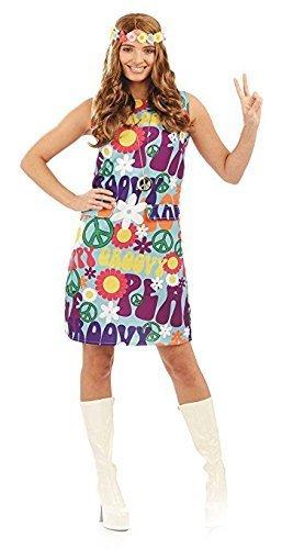Groovy Hippie Damen Kostüm 1970s 70s Peace Hippy Damen Erwachsene Kostüm Neu (Medium UK 12 - 14)