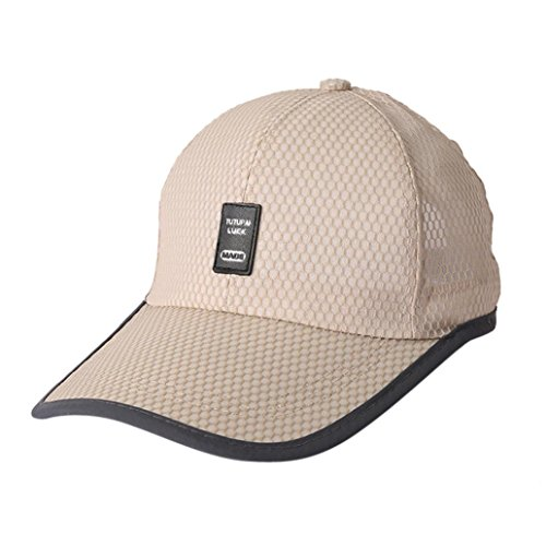 UFACE Sommer-Art-Art Breathable Sport-Baseballmütze Baseball Sonnenblende Cap Snapback Hip-Hop-Hut Unisex Cap (Beige)
