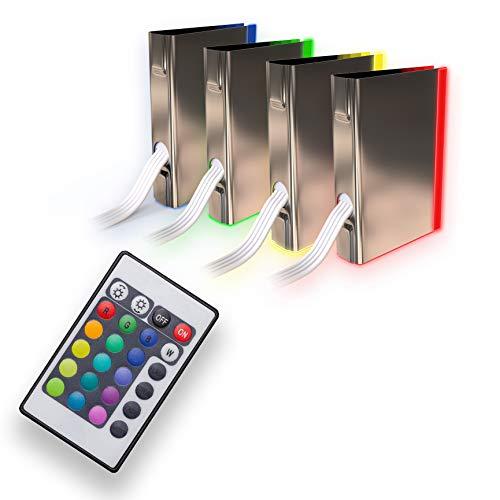 Leds para Iluminación de Superficies de cristal I Pack de 4 I Pinzas de Led I Iluminación de Vitrinas con led I Iluminación de armarios incl. mando a distancia función I RGB con Cambio del color