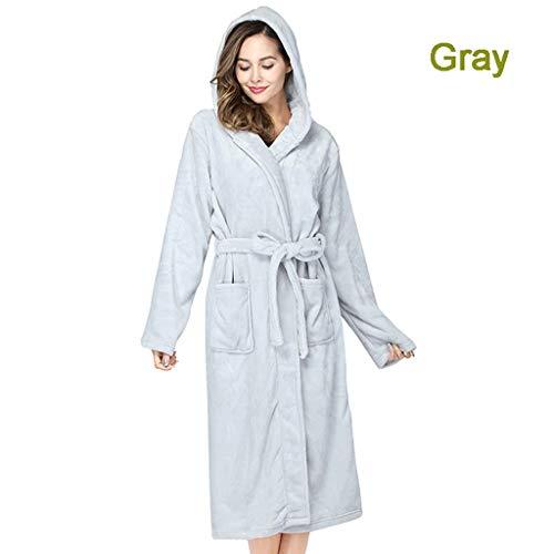 LIUY Damen Robe mit Kapuze - Plüsch-Fleece - Kimono Wrap - Frauen, Mädchen, Super Soft Komfortable Spa Bademantel Bikinihaus Leichte Robe for Frauen, 12 Farben zur Auswahl (Color : Gray, Size : XL)