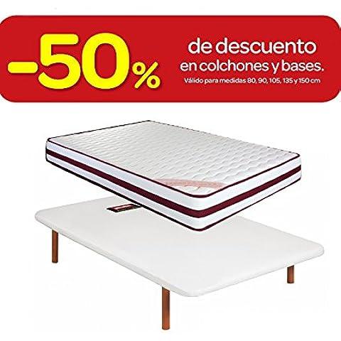 COLCHÓN VISCOELÁSTICO VISCOELASTICA 23CM THERAPY CONFORT + BASE TAPIZADA PIKOLIN DIVANLIN 6 PATAS (2 CON RUEDAS). DISPONIBLE EN TODAS LAS MEDIDAS (90x190)