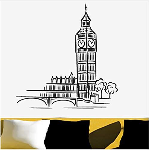 Selbstklebender Wandaufkleberwall Sticker Mural London Landmark Building Cartoon Big Ben Wall Sticker Home Decor Living Room Pvc Waterproof Wallpaper Vinyl Stickers 60X60Cm