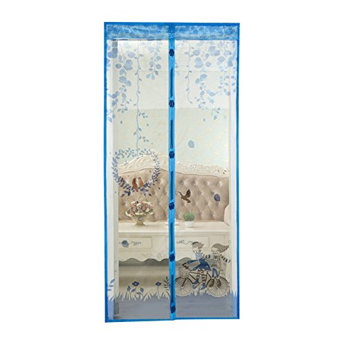 Wongfon Mesh Moskito Tür Vorhang Magnetic Fly Bug Insect Bildschirm mit Einem Pack Pin, Fahrrad Muster, 90x210cm