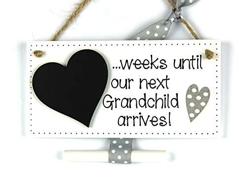 Baby Countdown Plaque Weeks Until Our Next Grandchild Arrives - Pregnancy Announcement Sign Grandparents Again