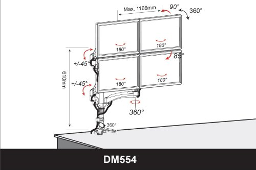 Best Price Duronic DM554 Spring Quad Four LCD LED Sprung Desk Mount Arm Monitor Stand Bracket with Tilt and Swivel (Tilt -90°/+85°Swivel 180°|Rotate 360°) + 10 Year Warranty
